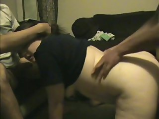 Cuckold Helping Chubby Wife Cum on BBC