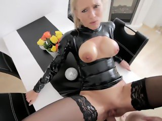 Babe fucked in latex suit!