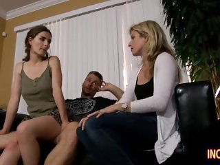 Hubby fucks Stepdaughter, while Mom comes in