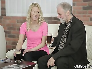 Old Goes Young - Sweetie opens pussy