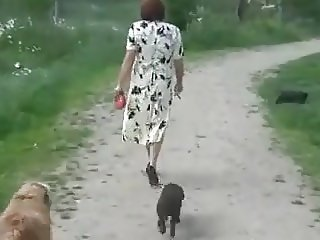 Mature country walk and play