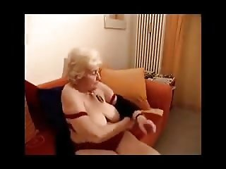 old grandmother playing