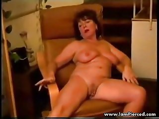 I am Pierced mature wife with pussy lip piercings masturbati