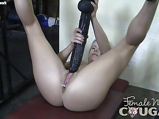 Muscular Mature Blonde Huge Dildo Won't Fit