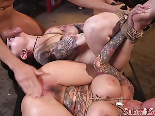 Inked bdsm subs pussy and anal fucking trio