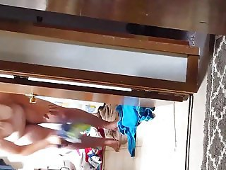 Hidden camera wife flabby tits  out of shower.