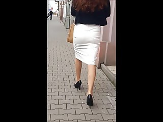 #92 Girl with sexy legs in tight skirt and high heels