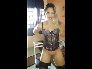Hot milf with a sexy lingerie strips naked