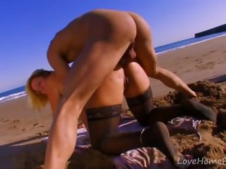 Curvy Blonde Takes It Up The Butt Outdoors