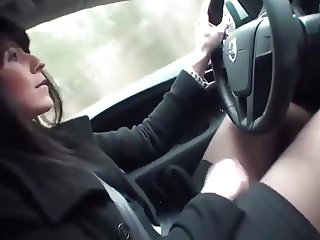 Milf in Stockings Driving and Fucking Her Pussy With Dildo