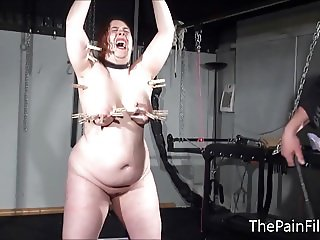 Bbw bdsm slave Nimues tit torments and fierce whipping of cr