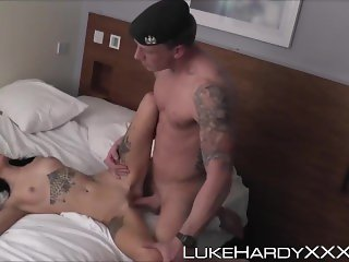 Tattooed cock munched Emma Louise blasted with warm cream