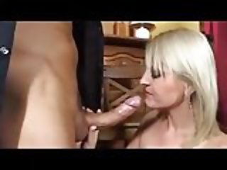 Sexy blonde has sex in the Bar
