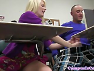 Wild college babes jerking and riding guys