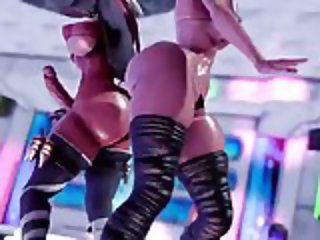 3D MMD FUTANARI Strip Club