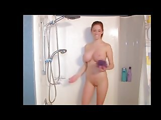 Huge tits busty baby getting naked and wet in shower