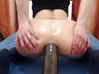 Training Her Anal Gape With Huge Dildo