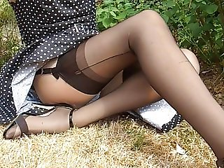 Polkadot Dress Black Nylon Stockings
