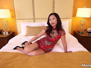 Chinese Lulu dressing in traditional Qi Pao fucked by White cock