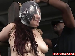 BDSM sub tied up and suffocated by maledom