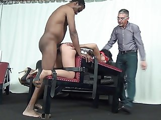 Two guys dominate a horny slave bitch with bandaged eyes