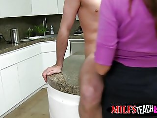 MILF Ariella and stepdaughter Callie banged in the kitchen