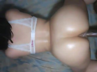 Big booty chick throw's ass back like a pro & gets pussy filled w/ cum!