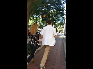 Candid - Big ass in tight jeans walking with her boyfriend