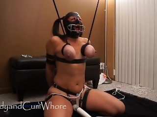 Cum Whore is bound & face fucked, then surprised with candles