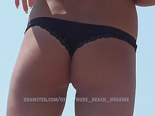 Hot slim Ukrainian bikini model. Beach hidde camera. HD