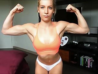 Cute Girl Flexing Her Muscles