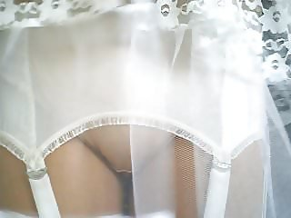 Retro Lace Slip With Tan Nylon Stockings