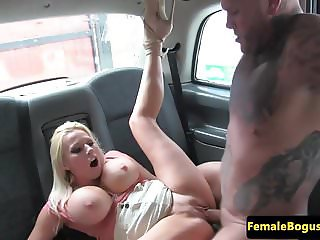 Busty british cabbie plowed by passenger