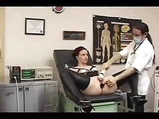 Doctor stretches her tight Ass -ElectroSex and Pierced Pussy