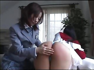 Asian Schoolgirl Spanks Horny Mom