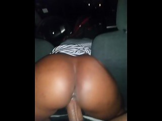 Riding big dick in the car POV