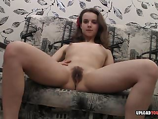 Teen with small tits and hairy pussy