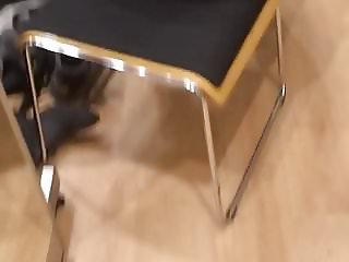 Voyeur thong in shoe shop