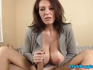 Huge titted mature rubbings dudes cock