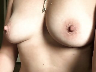 Sexy MILF Homemade amateur wife shows HARD NIPPLES