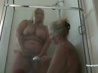 Desiree showers with Aunty Alex