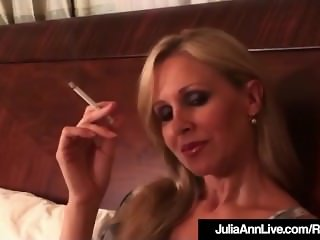 Busty Blonde Milf Julia Ann Puffs On Cigarette Nude In Bed!