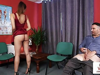 CFNM voyeur instructs jerkoff at doc office