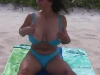 Busty Mature Mom with Amazing Natural Boobs Naked at Beach
