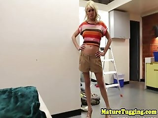 MILF tugging cock after stripping down
