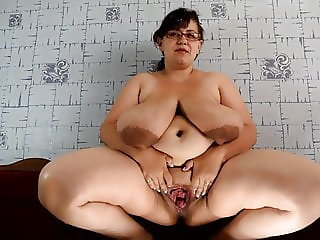BBW Nina Shows off Gaped Pussy and Milky Tits
