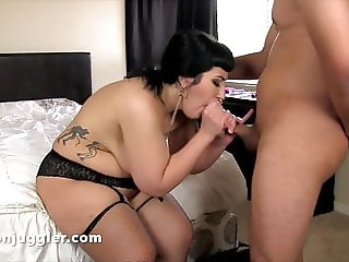 Plumper with thick thighs with black cock into her