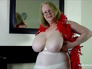 Tiny bra and red feather boa