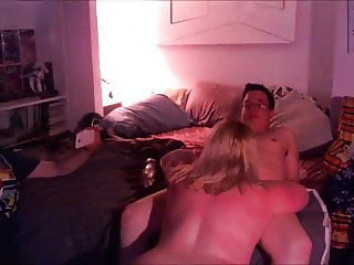 Facializing A Blond BBW Wife In Front Of Her Hubby