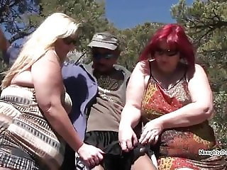 Lucky man in the pine woods with two PAWGs
